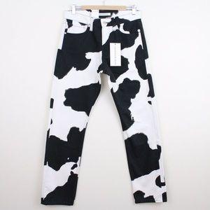 Calvin Klein Cow Print Straight Leg Denim Jeans 30
